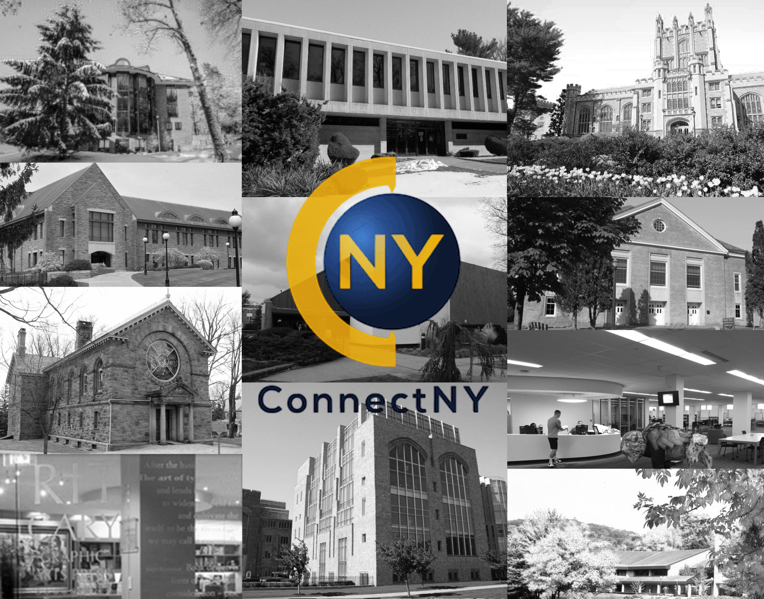 Connect New York logo - gold capital c with letters n and y in blue circle - with black and white images of member institutions