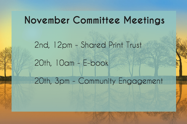 Connect NY November Committee Meetings. November 2nd at 12pm, Shared Print Trust Management. November 20th at 10am, E-book Committee. November 20th at 3pm, Community Engagement Committee