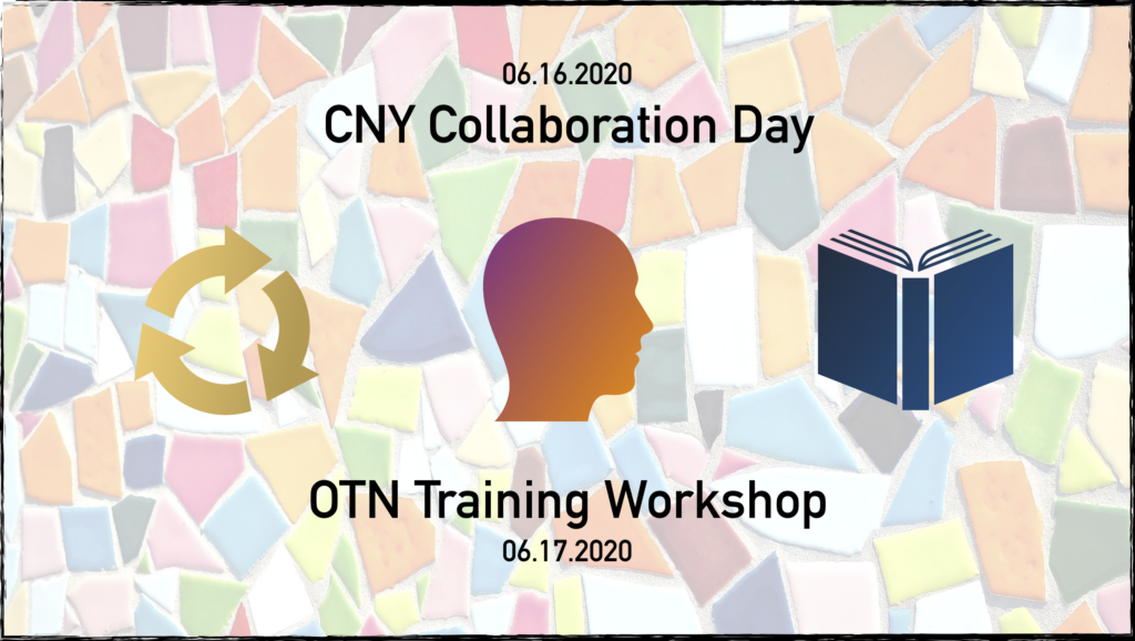 Collaboration Day 2020 & Open Textbook Network (OTN) Training Workshop logo - half blue, half deep yellow rectangle split diagonally across center